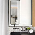 Bathroom White Terrazzo Tiles On Floor And Wall, Shelvs Vanity In Grey, Blue Accent Wall, Mirror
