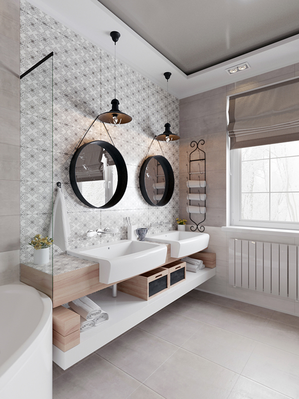 bathroom with beige tiles on floor, white tiles and tiles on the wall, pattern accent walls with wooden floating vanity and shelves, white sinks, black round mirrors