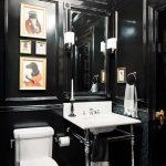 Bathroomwith Stripes Tiles Floor, Black Wall, Black Tiles On The Wall, White Toilte, White Sink