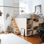 Bed On The Upper Leve, Bookshelves Under, Stairs   Shelves, Wooden Floor, Rug