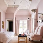 Bedroom, Brown Rug, Pink Bed, Pnk Chairs, Blue Top Coffee Table, Pink Wall, Pink Curtain, White Patterned Ceiling