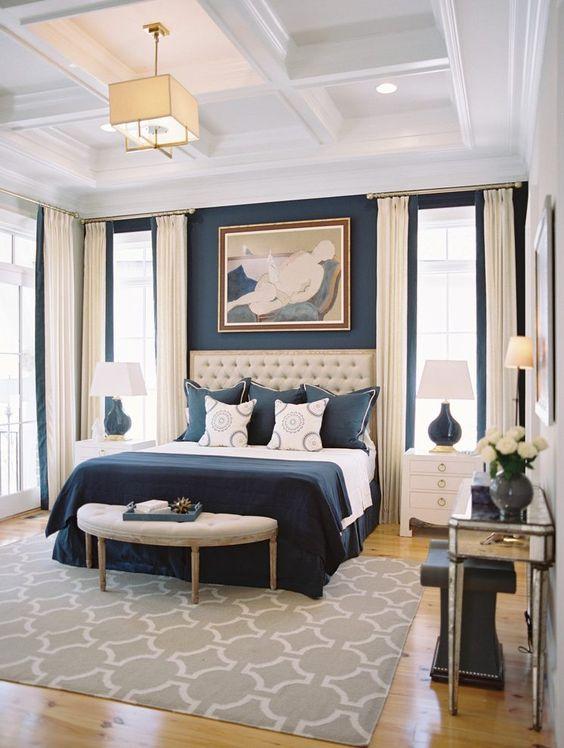 bedroom cofferred ceiling in white, golden pendant