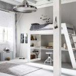 Bedroom With Bed On Top, Study Area Below, Cabinet, Rug, Floor Lamp, Silver Light Fixture