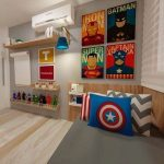 Bedroom With Grey Linen, Pillows, Wall Decors, Action Figure On Acryllic Shelves, Shelves
