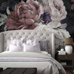 Bedroom With Wooden Floor, Grey Rug, Chests, Grey Bed, Large Flower Wallpaper With Ashed Look