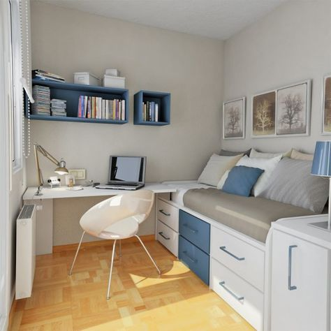 bedroom with wooden look floor, white and blue platform bed with drawers, side table with storage, white table with chair, bookshelves