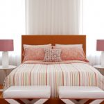 Bedside Table Height Orange Headboard Orange Shag Rug Striped Bedding Pink Table Lamps White Pedestal Side Tables White Benches Glass Windows White Curtain