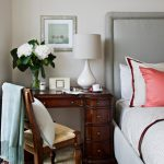 Bedside Table Height White Tabe Lamp Grey Bed Grey Headboard Frame Wooden Drawers Wooden Chair Throw White Bedding