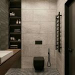 Black Toilet Built In The Grey Tiles Wall, With Flush Button, Small Spray Pipe