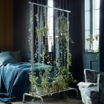 Blue Bedroom, Wood Herringbone Floor, Blue Walls, Blue Bedding, Blue Chair, Room Divider