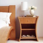 Brown Wooden Bedside Table With One Drawer, Two Shelves, Bedside Table Lamp, Vase