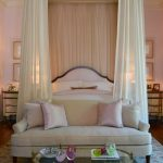 Built In Canopy On White Elegant Bed With The Ceiling With Sheer Material