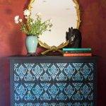 Cabinet With Blue Painted Frame, Blue Ikat Pattern On The Drawers