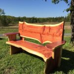 Cedar Bench With Back And Arm Rest