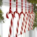 Christmas Decoration On The Window With Stiped Red White Candycane