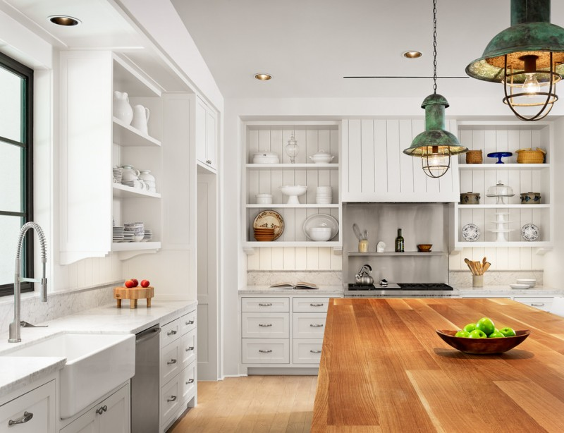 coastal light fixtures rustic green pendant lamps white cabinet white shelves wooden island drawers white sink stovetop glass window stovetop range hood