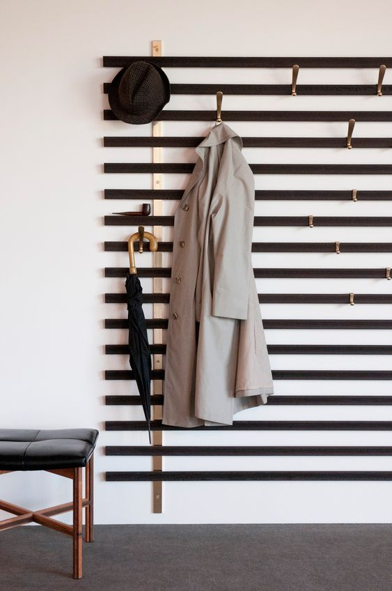 coat rack with horizontal line, hooks set between