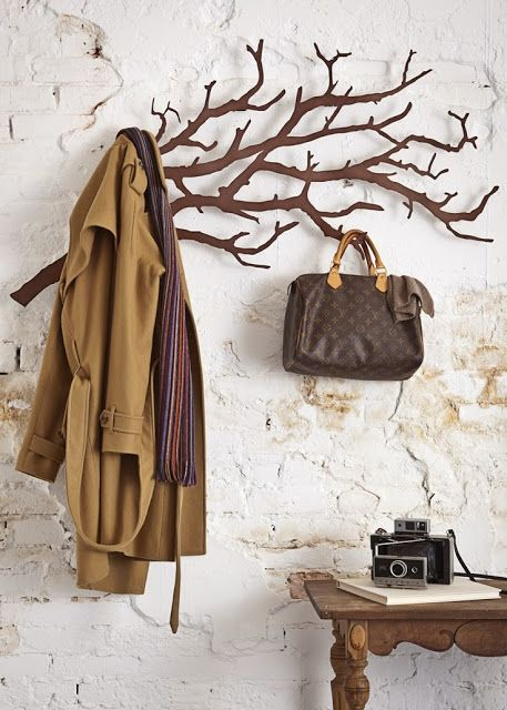 coat racks in branch shape positioned in horizontal