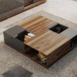 Coffee Table With Combination Of Wooden Boxes And Metal Material With Holes For Bookshelves