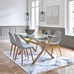 Dining Area, Wooden Chevron Pattern, Rug, Wooden Cross Legged Table With Glass Top, Grey Chairs, Pendant, White Table