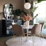 Dining Area, Wooden Floor, Pink Rug, White Tulip Table, Pinnk Smooth Modern Chairs, White Pendant, Mirror, Cabinet