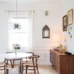 Dining Room, Wooden Floor, White Round Table, Wooden Chairs Copper Finish, Wooden Cabinet, White Walls, Chandelier