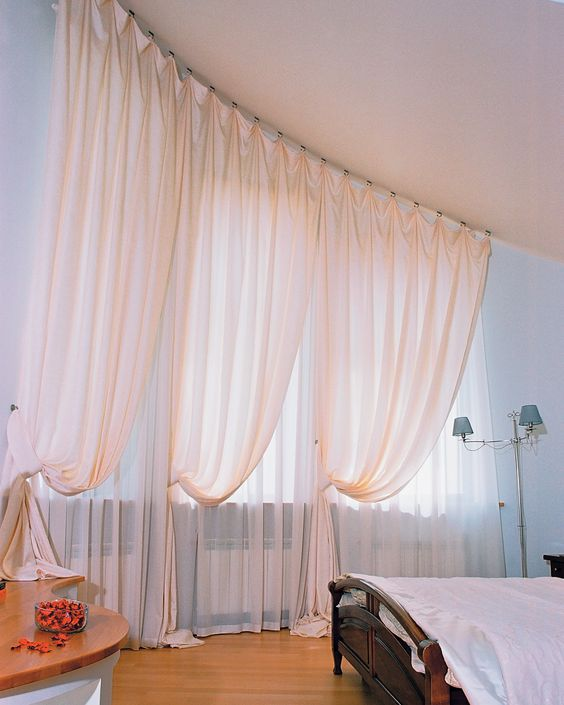 double curtain with white in the outer curtain and peach for inner curtain