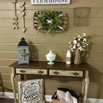 Entrance With Vintage Wooden Table, Wall Decorations, Vases, Basket, Pillow