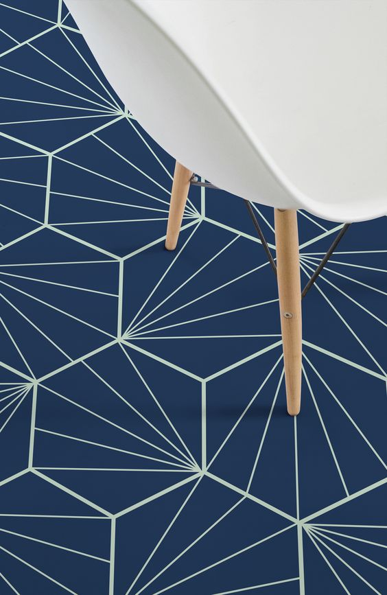 floor with blue geometrical vinyl flooring