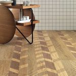 Floor With Brown Porcelain Tiles With Herringbone Effect