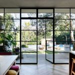 Glass Wall To The Backyard With Black Frame, Glass Door