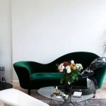 Green Bottled Colored Modern Sofa With Uneven Back Height
