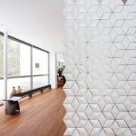 Hanging Room Divider With White Gemoteric Glass