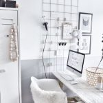Home Office With Wooden Floor, White Ashed Wooden Table, White Midcentury Chair, White Cupboard