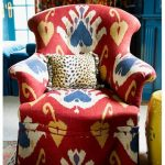 Ikat Pattern On Red Blue White Yellow On A Chair