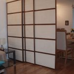 Japanese Inspired Wooden Room Divider With Paper