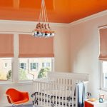 Kids Room With Light Blue Floor, White Wall, Orange Ceiling, Interesting Pendant, Orange Curtain, Cribs, White Orange Table
