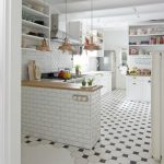 Kitchen Floor With White Hexagon Tiles, Tiny Square Black Tiles Combined Together