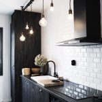 Kitchen With Black Floor Tiles, Black Wooden Cabinet, Black Cupboard, White Subway Tiles,