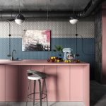 Kitchen With Grey Floring, Pink Island With Sink, White Stool, Industrial Pendant