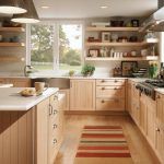 Kitchen With Light Brown Wooden Floor, Cabinet, Open Shelves, White Counter Top, White Wall, White Framed Window