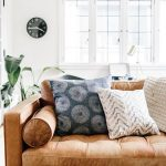 Leather Sofa With Tufted Cushions, Back, Arm Rest, Pillow
