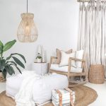 Living Room, White Floor, Rattan Rug, Wooden Rocking Chair, White Square Ottoman, Rattan Covered Pendant