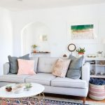 Living Room With White Wall, White Ceiling, Wooden Floor, Pink Large Persian Rug, Light Grey Sofa, White Coffee Table