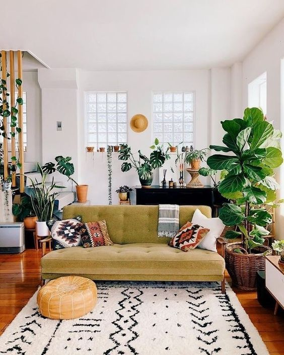 living room with wooden floor, white rug, green sofa, plants, piano