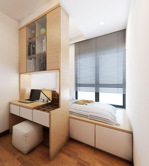 minimalist bedroom with wooden flor, wooden platform for bed, storage under the platform, table, shelves, white chair