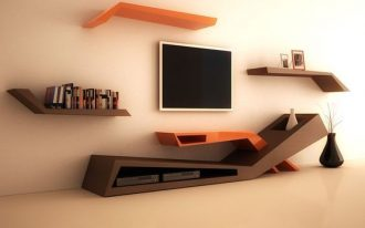 moern abstract brown and orange TV center with shelves