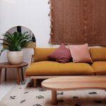Mustard Wide Sofa With Laid Back Back, No Arm Rest, Wooden Platform
