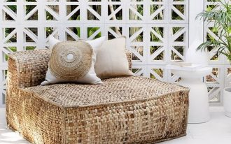 outdoor lounge chair from hyacinth in brown