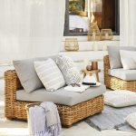 Outdoor Rattan Chairs With Grey Cushion, Grey Pillows, Side Table, Grey Rug